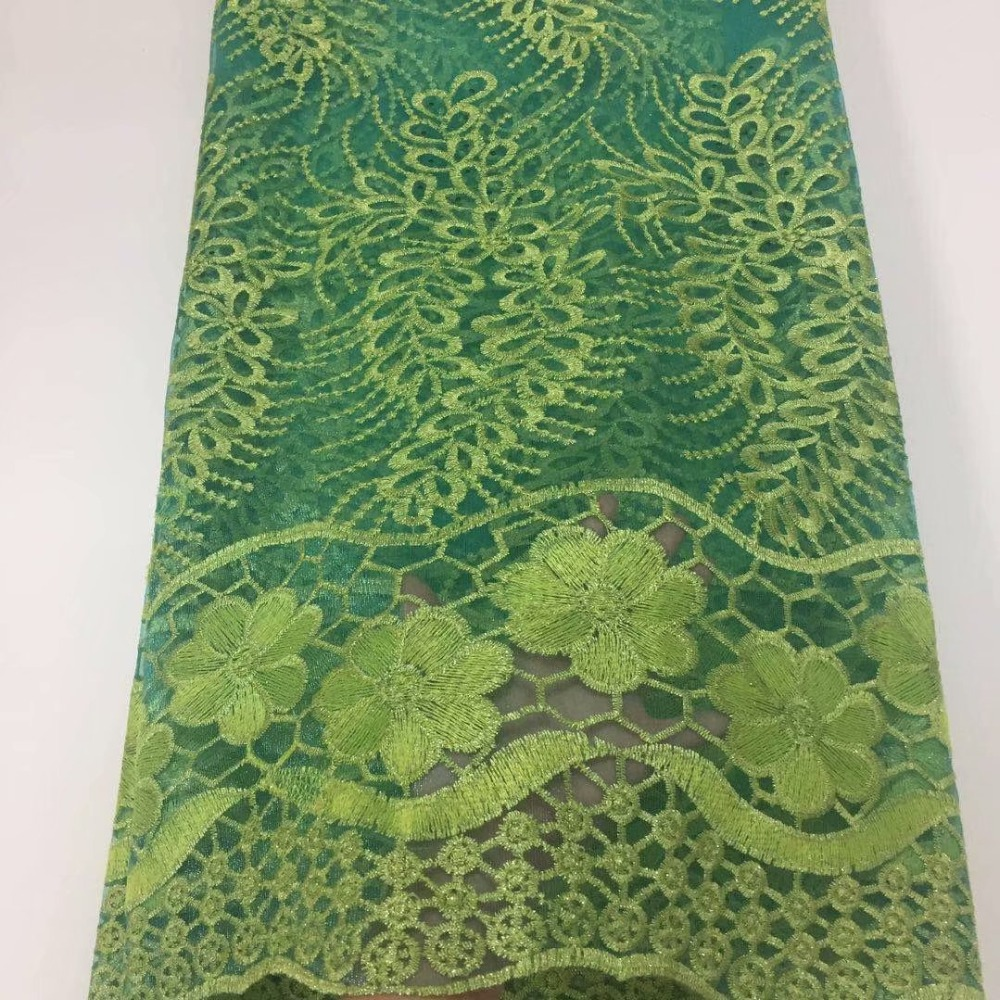 NEW Beautiful nigerian lace fabrics with Stones 5yard lot fashion gold Water soluble high quality green