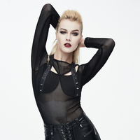 Devil Fashion Steampunk Women Sexy See Through T Shirt Gothic Black Hollow Out Tee Shirt Tops