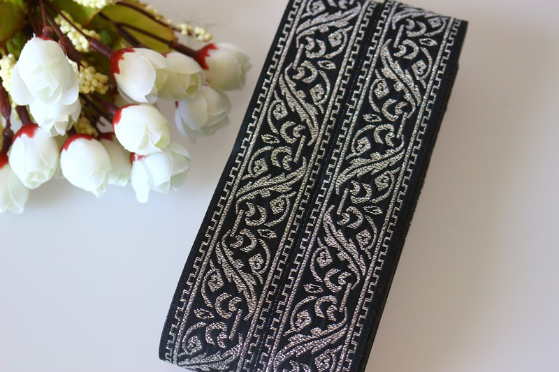 10yards/lots Woven Jacquard Ribbon 3.3cm Black Background Silvery Pattern Ls-3891 Arts,crafts & Sewing