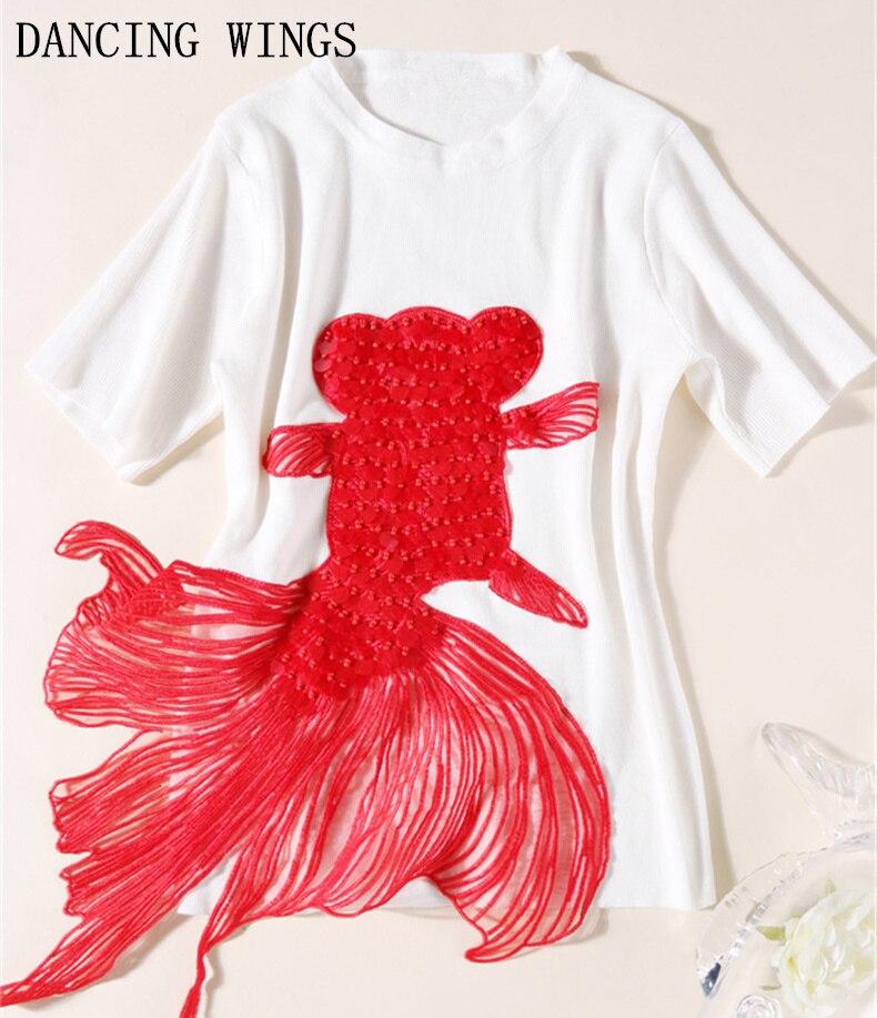 Hauts d'été pour femmes 2019 personnalité Sequin perles broderie rouge poisson rouge applique tricoté t-shirt à manches courtes