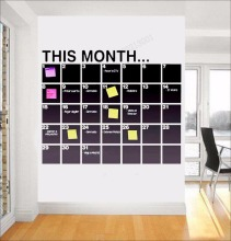 Art  Wall Sticker Blackboard Decal This Moment Poster Vinyl Decoration Removeable Month Calendar Planner StickerLY103