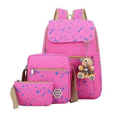 Girls School Shoulder Bag Women Canvas Backpack Set Bling bling Star Satchel Rucksack 3PCS