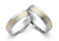 hot selling custom gold plating inlay white gold color and white gold style silver color titanium couple rings
