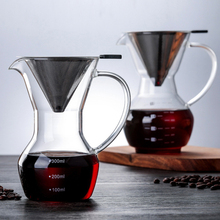 Portable Pour Over Coffee Machine Manual Drip Glass Coffee Maker Stainless Steel Filter Coffee Pot Teapot Tools Heat Resistant stainless steel vietnamese coffee pot drip coffee machine filter type brewing teapot no need paper filter coffee cup