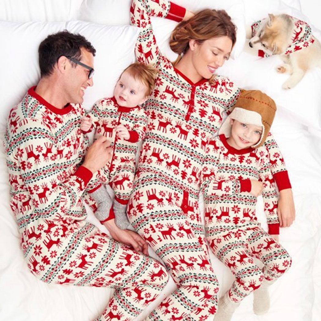 Family Matching Baby Kids Deer Print Christmas Overalls Pajamas Long Sleeve Tops+Pants Children Sleepwear Clothing Suit Outfit