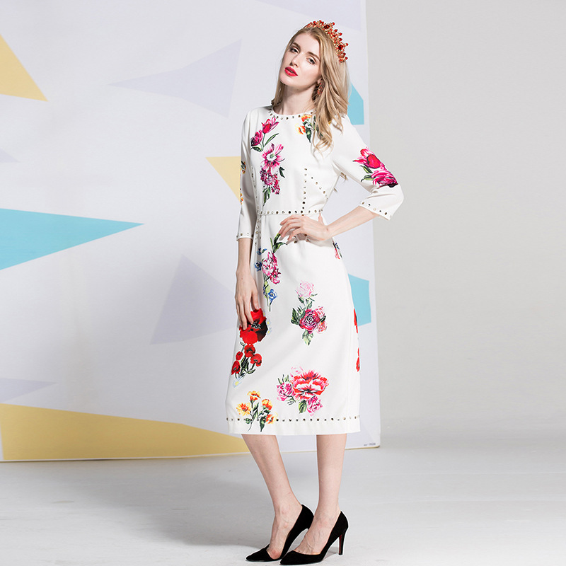 2018 New Summer/Spring Lady Milan Sleeves Beaded Floral Printed Womens O Neck High Street Fashion Designer Runway Dresses