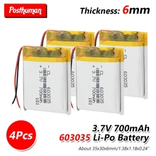37V 700mAh li-ion Lipo cells Lithium Li-Po Polymer Battery 603035 Li-ion Battery For Speaker Headphone GPS MP3 MP4 Toy