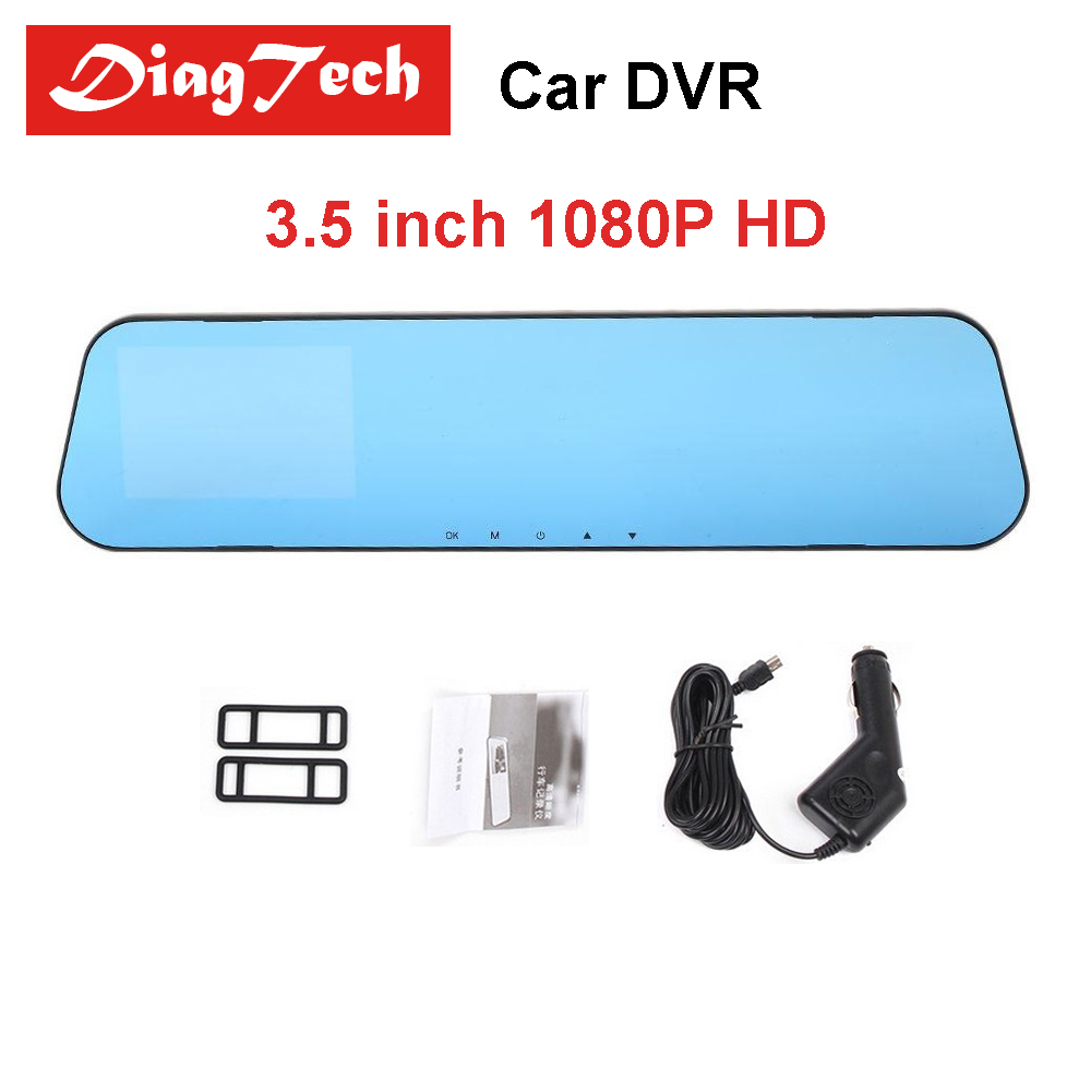 Gryan Car DVR Dash Camera With Dual Lens 3.5 Inch 1080P Full HD Car Camera Rearview Mirror Camera Auto Recorder Dashcam Car DVRs цена 2017