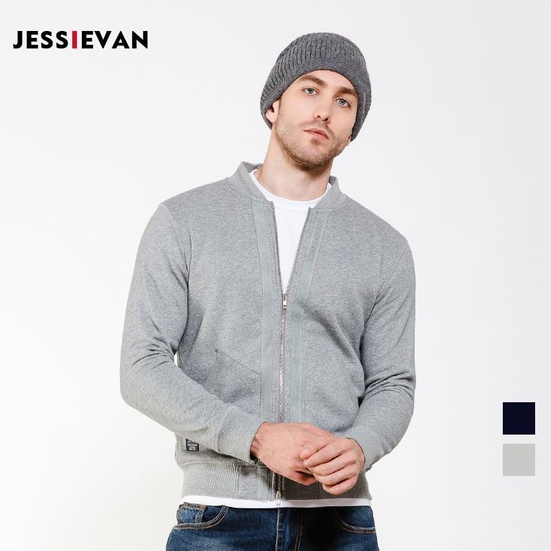jessie Van 2017 Retro Men Zipper Hoodies Sweatshirt Cardigan Baseball O Neck Slim Solid Color Simple Asian Size 87616