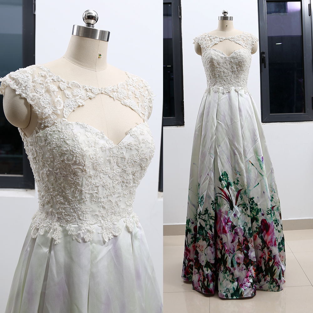MACloth White A-Line O Neck Floor-Length Long Crystal Satin Wedding Bridesmaid Prom Party Evening Dress M 264563 Clearance