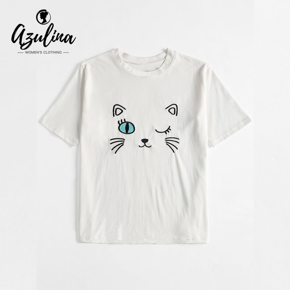 AZULINA Cute Cat Embroidered T Shirt Girls T Shirt Women Casual White Summer O Neck Short Sleeves T-Shirts 2018 Ladies Clothes