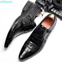QYFCIOUFU Double Monk Strap Shoes Mens Dress Shoe Pointed Toe Genuine Calf Leather Outsole Men Suits Formal Leather Handmade