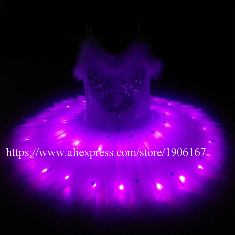 Fashion Show Led Luminous Evening Party Ballet Dress Light Up Stage Performance Costumes For Club Party Bar Halloween Stage Show