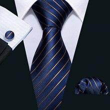 Men Tie Gold Navy Striped 100% Silk Tie