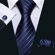 Men Tie Gold Navy Striped 100% Silk Barry.Wang 3.4 Jacquard Party Wedding Woven Fashion Designers Necktie For DS-5032