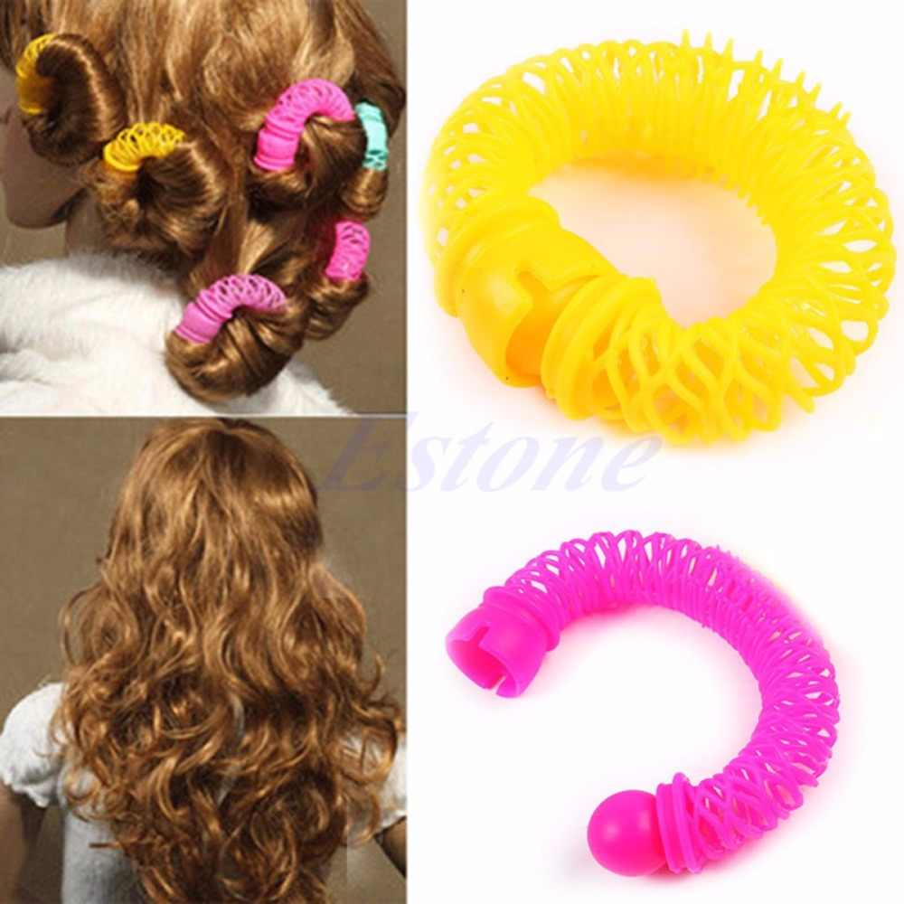 6 Pcs 8 Pcs Tata Magic Bendy Rambut Styling Roller Curler Spiral Ikal DIY Alat