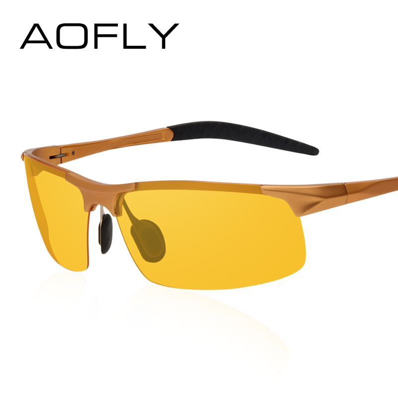 04cc5c39bdd AOFLY Brand Design Anti Glare Goggles Eyeglasses Polarized Sunglasses  Yellow Lens Night Vision Driving Glasses Men Women AF8054-in Sunglasses  from Apparel ...
