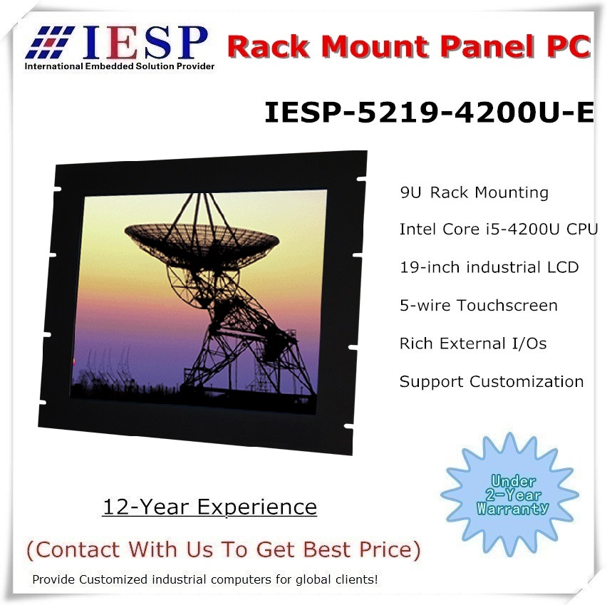 Rack Mount Industrial Panel PC, 19 Inch LCD, I5-4200U CPU, 4GB RAM, 500GB HDD, 4*RS232, 4*USB, Touch Panel Pc, Industrial HMI