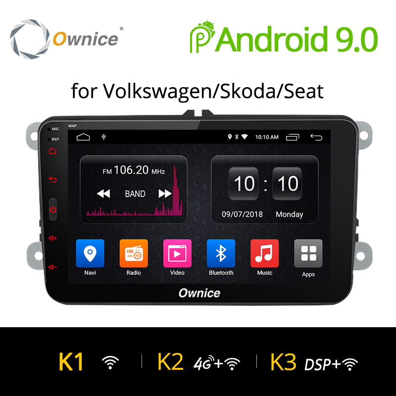 Ownice K1 K2 Android 9.0 main libre bluetooth universel 2 Din autoradio GPS pour Volkswagen/Skoda/Seat