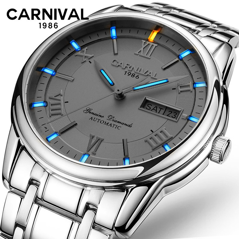 Tritium Luminous Mechanical Watch Men Wrist Automatic Watches CARNIVAL Men Waterproof Full-Steel Watch Clock Montre HommeTritium Luminous Mechanical Watch Men Wrist Automatic Watches CARNIVAL Men Waterproof Full-Steel Watch Clock Montre Homme