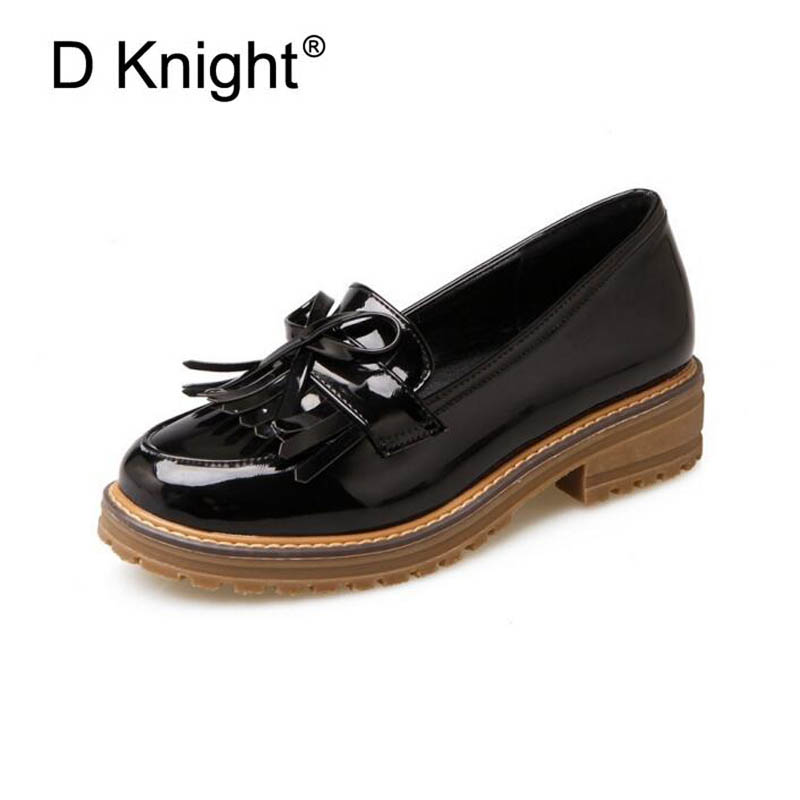 Fashion Tassel Bow Loafers New Women's Oxfords Patent Platform Flats Spring Round Toe Slip-on Casual Shoes Woman Big Size 43 new round toe slip on women loafers fashion bow patent leather women flat shoes ladies casual flats big size 34 43 women oxfords