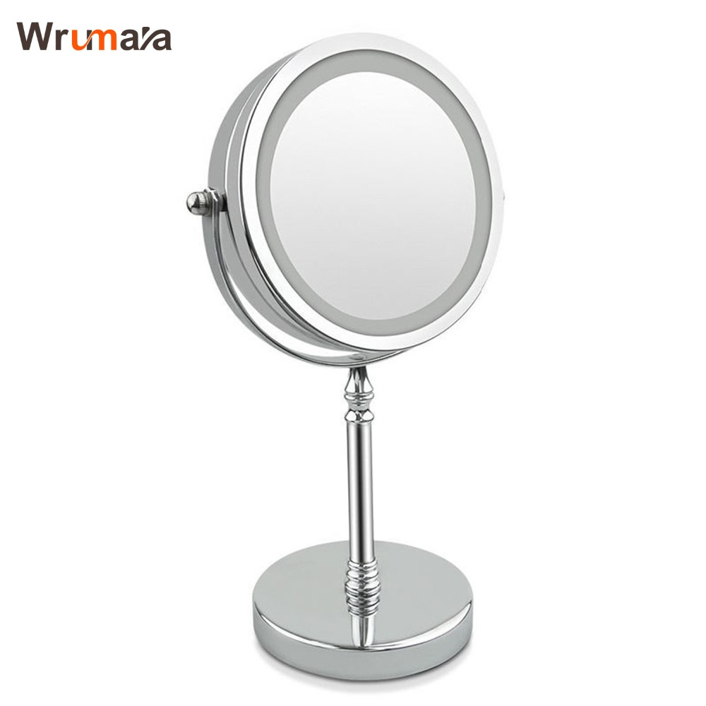 Wrumava 7 Inch 10x Magnification Circular Makeup Mirror Dual Sided Round Shape 17 LEDs Rotating Cosmetic Mirror Stand Magnifier alhakin 7 inch led table mirror silver chrome uv finish 10x magnification d710 makeup mirrors cosmetic beauty with ce approved