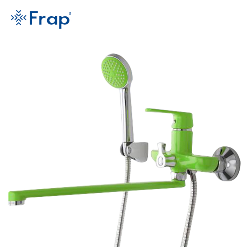 все цены на Frap 1 set 350mm Outlet pipe Bath shower faucet Brass body surface Spray painting Green shower head torneira F2231 F2232 F2233 онлайн
