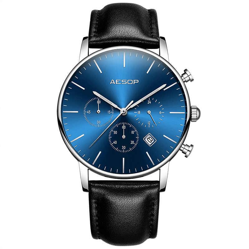 イソップトップブランド高級ドレス腕時計男性腕時計黒革ストラップ男性クロック青顔レロジオmasculinoモニターストップスポーツウォッチ時間