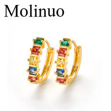 Molinuo gold color baguette cubic zirconia colorful rainbow cz delicate arround earring for women elegance hot fashion jewelry
