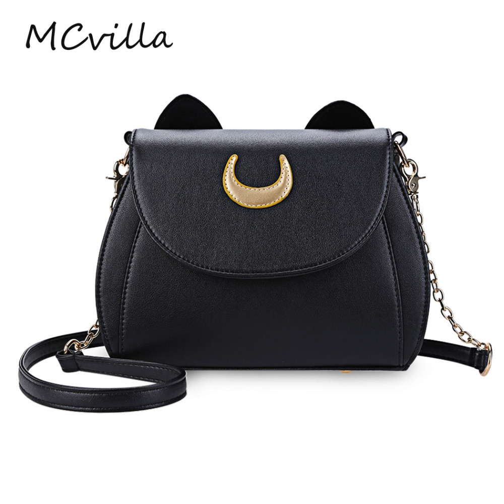 2018 New Small Bag Limited Sailor Moon Chain Shoulder Bag Ladies Cat Shape PU Leather Handbag Women Messenger Crossbody Bag 2017 new summer limited sailor moon chain shoulder bag ladies lock pu leather handbag women messenger crossbody small bag
