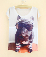 discount sale new 2015 summer woman cloth french dog pattern t-shirt western fashion novelty women's plus size tshirt(China)