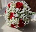 Gypsophila Artificial Red Rose de La Boda Ramo De Novia Ramo de Flores de La Boda Ramos de Novia Noiva buque De Noiva