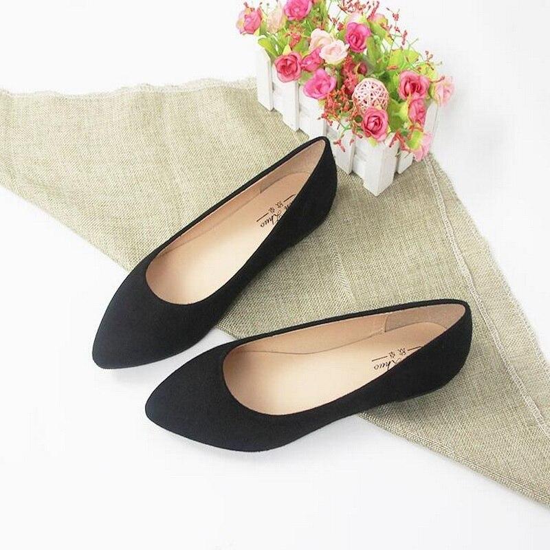 Plus Size 31-44 Flat Shoes Woman Fashion Pointed Toe Shallow Mouth Flat Shoes Elegant Women OL Dress Shoes