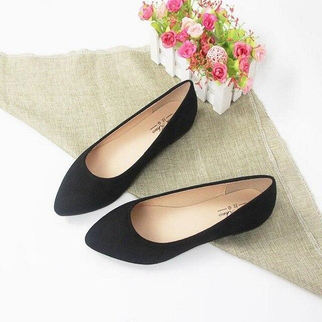 prezzo interessante modelli alla moda moda US $13.1 22% di SCONTO|Plus size 31 44 scarpe basse donna moda punta a  punta bocca superficiale scarpe basse donne eleganti del vestito OL scarpe  in ...