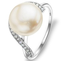 Bella Fashion 925 Sterling Silver Bend Bridal Ring Cubic Zircon Ivory Natural Pearl Rings For Girl