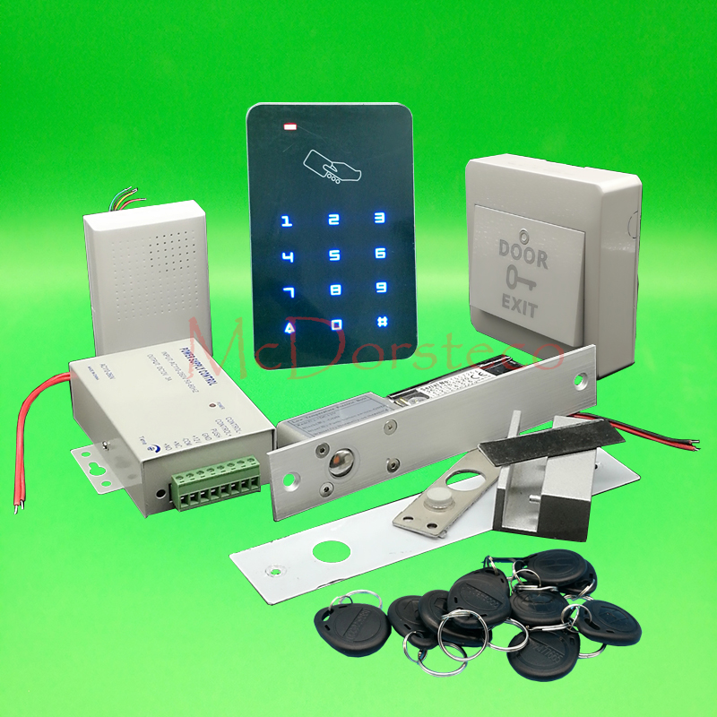 DIY Touch Keypad Access Control Complete 125khz Rfid Door Access control system Electric Bolt Lock Glass door Lock System raykube glass door access control kit electric bolt lock touch metal rfid reader access control keypad frameless glass door