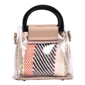 a0f96b3849e7 Женские сумки с ручкой сверху 2019 модные женские сумки-мессенджеры из ПВХ  непромокаемая сумка через плечо композитная сумка bolsa feminina 972