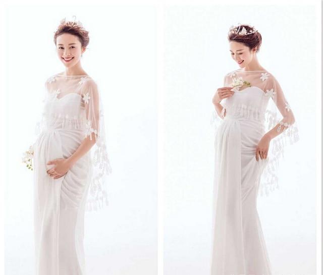 19cc8a40c7e97 2Pcs/Set Elegant Pregnant dress Maternity Photography Dress Pregnant  Photography Props Fancy Pregnancy Photo Shoot