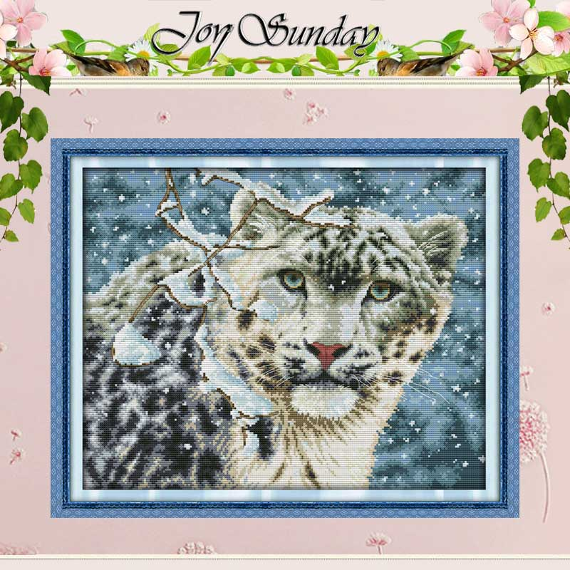 Bezpłatny Statku Śniegu Leopard Counted Cross Stitch 11CT 14CT Cross Stitch zwierzęta Cross Stitch Kit Hafty do Wystroju Domu Robótki