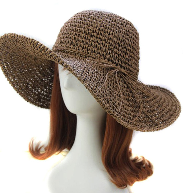 Women Ladies Wide Brim Roll-up Crocheted Hats Bohemia Straw Sun Hat Travel  Beach da025ae8fbc