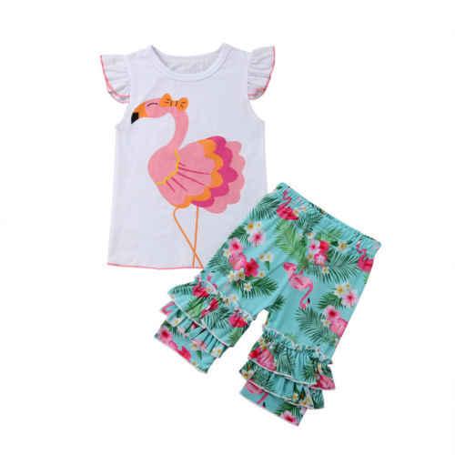 Прекрасная одежда для детей малышей девочек Фламинго майки топы без рукавов