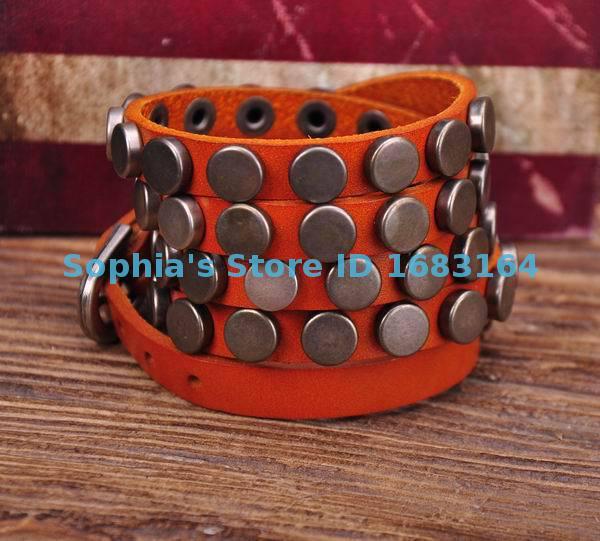 S317 Orange Rock R&B Round Studs Multi 5-Wrap Leather Wristband Bracelet Bangle Mens