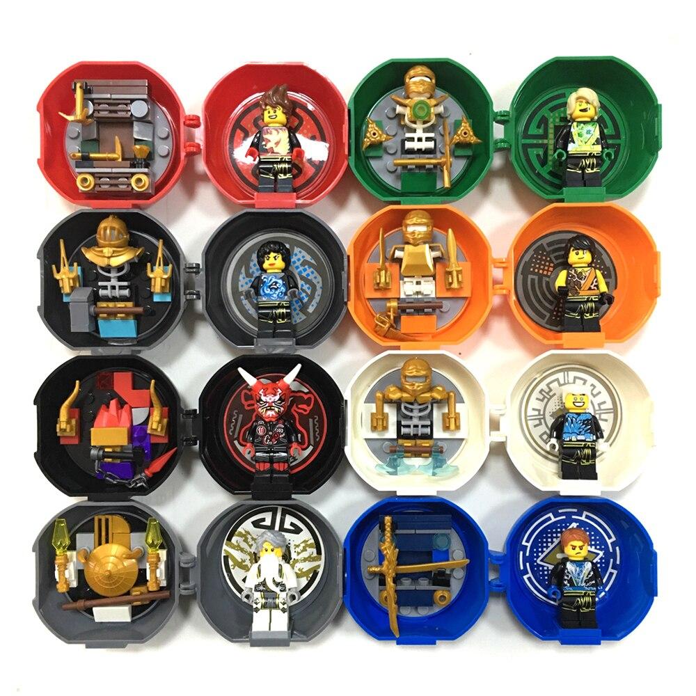 8 Minifigs en 1 espadachín Ninja Kendo vaina de entrenamiento Mini figuras paquete KAI JAY COLE ZANE Lloyd Master Wu bloques de construcción juguetes para niños