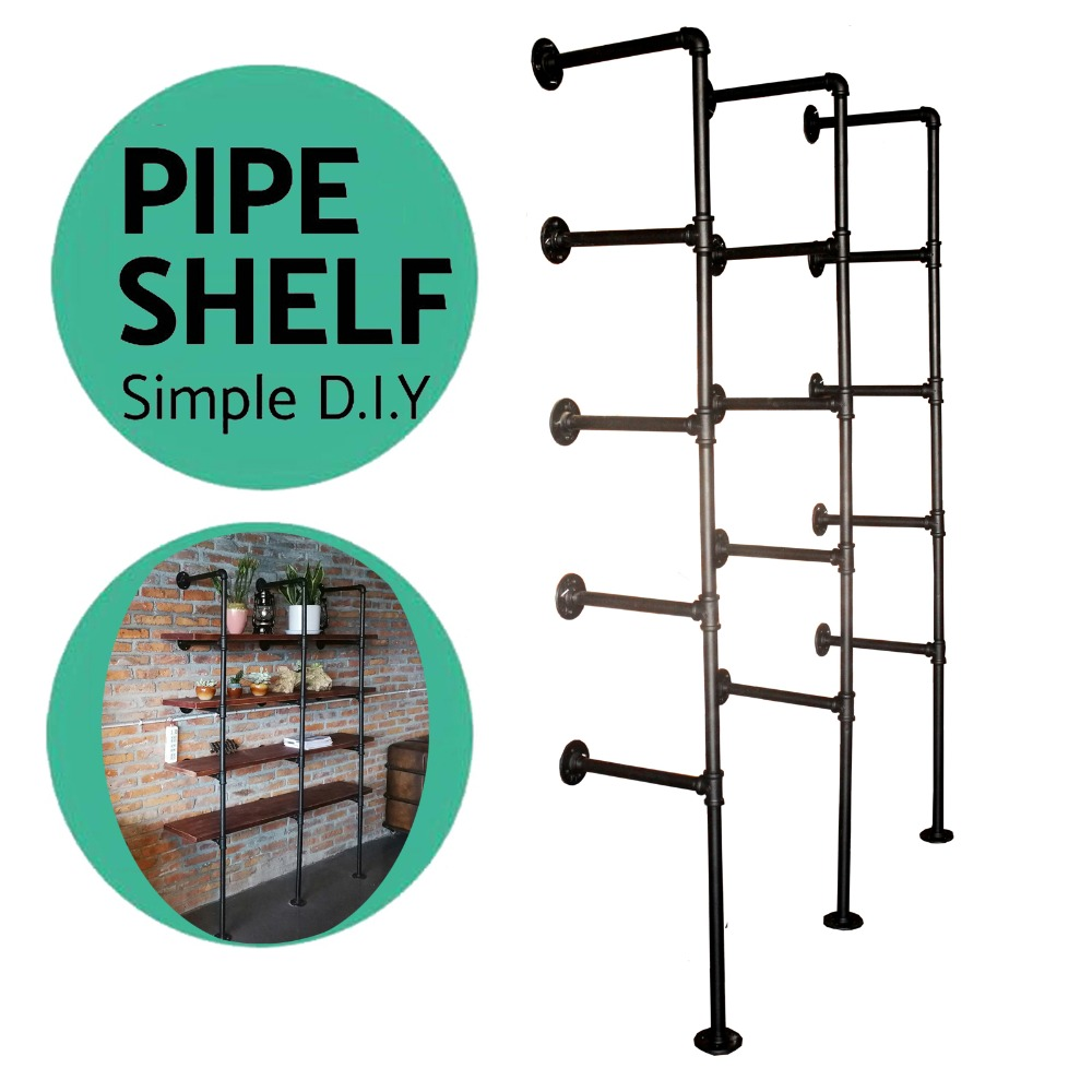 industrial pipe Bookcase Shelf Standing Book Shelves Storage Multi function 5 -Tier storage  Bookshelf Rack for Home Decoration  Полка