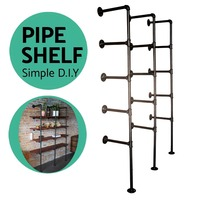 Industrial Pipe Bookshelf Standing Book Shelves Storage Set of 3pcs 5 Tier Storage Bookshelf Rack Pipe Shelf Bracket