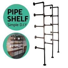 industrial pipe Bookcase Shelf Standing Book Shelves font b Storage b font Multi function 5 Tier