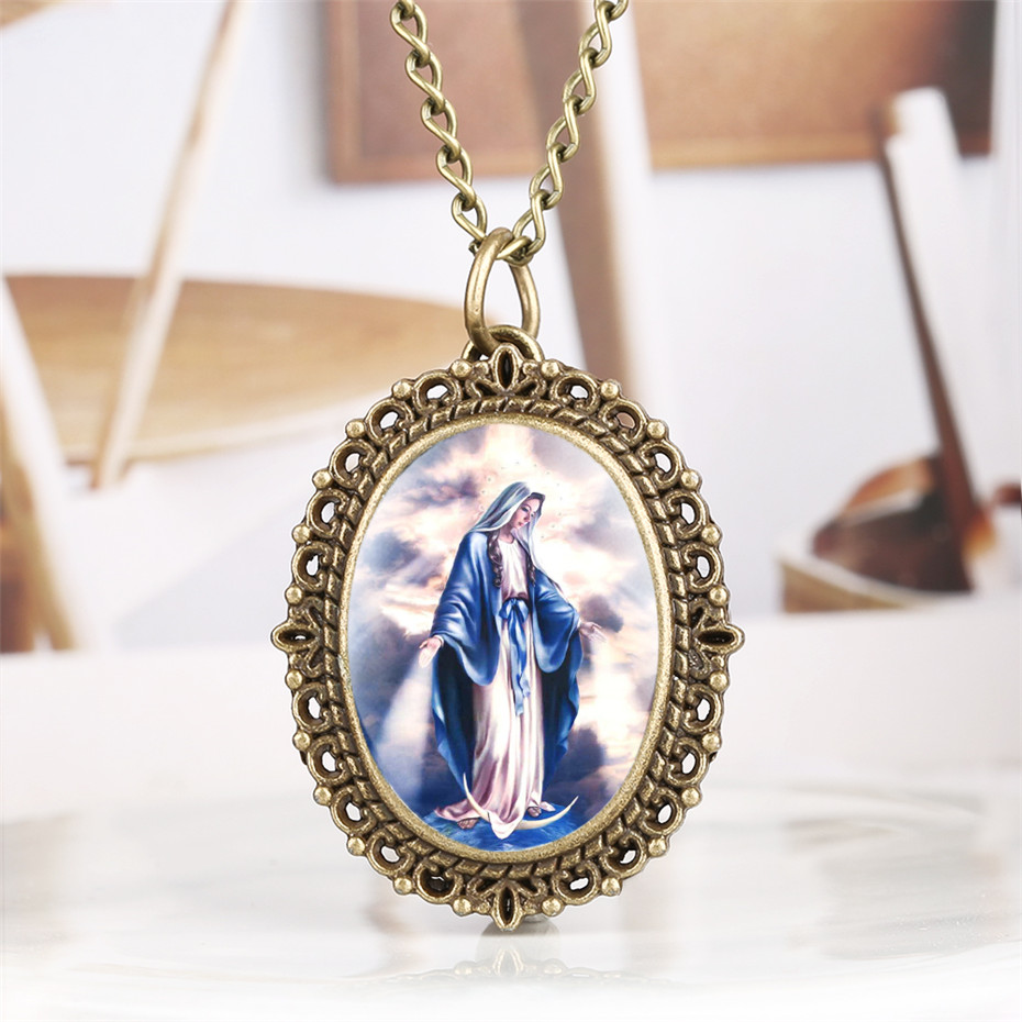 Vintage Oval Shape Pocket Watch Exquisite Elegant Virgin Mary Pattern Women Watches Necklace Pendant 2019 New Arrival Lady Gift