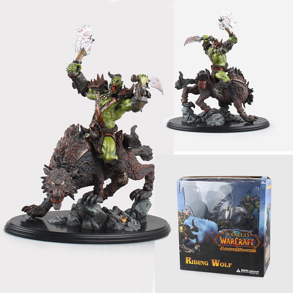 Wow Raider Riding Wolf ORC Action Figure Statue Toy Anime Figure Collectible Model Toy Doll Robot Figure Kit Block dc wow thrall the orc shamman action figure toys thrall the orc shamman doll pvc acgn figure collectible model toy brinquedos