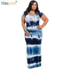 HAOYUAN Plus Size Tie Dye Maxi Dress Short Sleeve Casual Dress 2017 New Sundress Robe Summer Long Bodycon Dresses Women Clothing