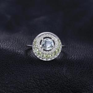 Image 3 - JewelryPalace oryginalna 1.4ct zielony ametyst Peridot efekt aureoli 925 srebro Vintage urok biżuterii moda dla kobiet